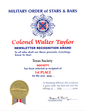 Colonel Walter Taylor Newsletter Recognition Award - 1st Place